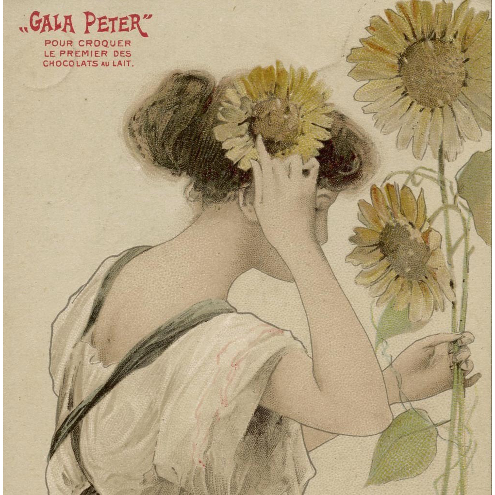 Art Nouveau Gala Peter Chocolate French Advertising Postcard Beauty with Sunflowers