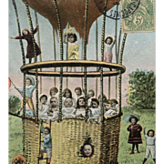Multiple Babies in Hot Air Balloon German Chromolithograph Postcard Mailed in 1907