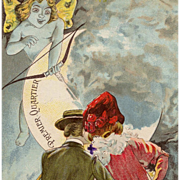 First Quarter Moon French Edwardian Couple Marriage Postcard with Cupid as Butterfly Fairy
