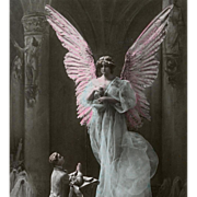 Angel and Supplicant Mixed Media Assemblage First Communion Souvenir 1917 Postcard