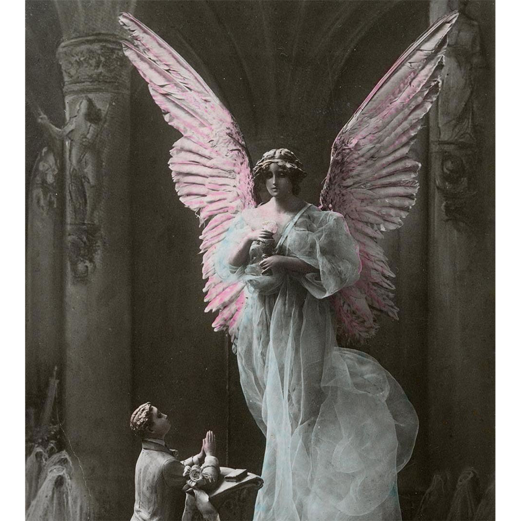 Angel and Supplicant First Communion Souvenir 1917 Postcard