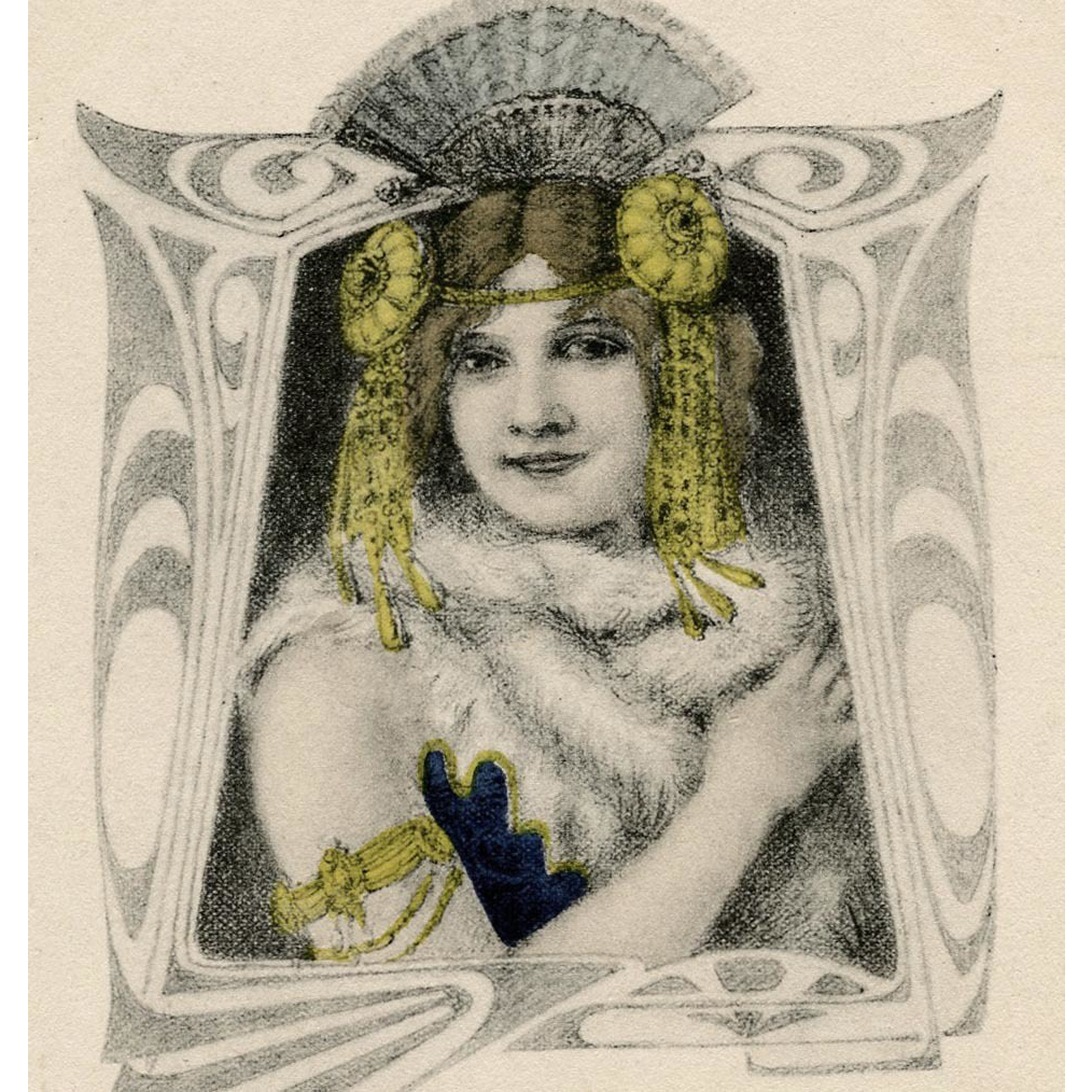 Woman with Exotic Headpiece Unused German Art Nouveau Postcard