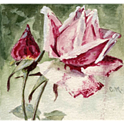 Catherina Klein Hand-Painted Red Pink Rose Postcard 1905 to Vienna