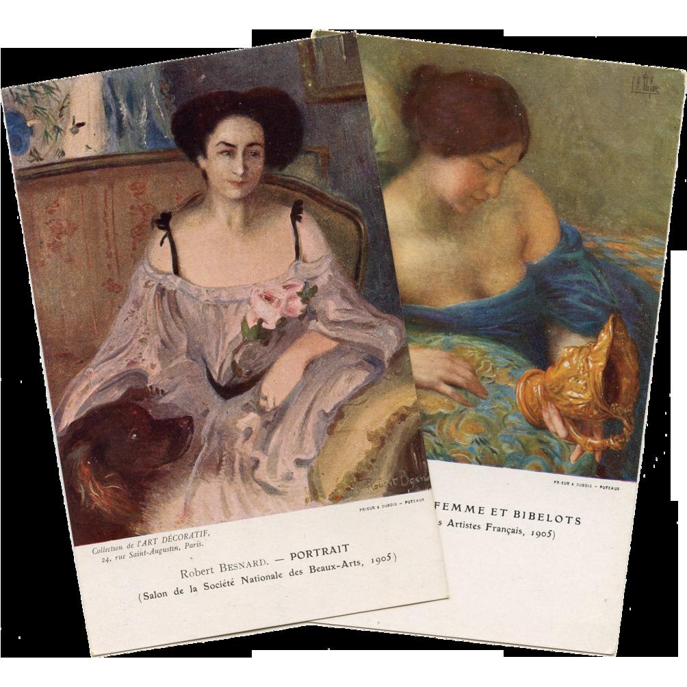 2 French Artist Signed Prints of Women from Paris Collection de l'Art Decoratif Clémentine Hélène Dufau and Robert Besnard