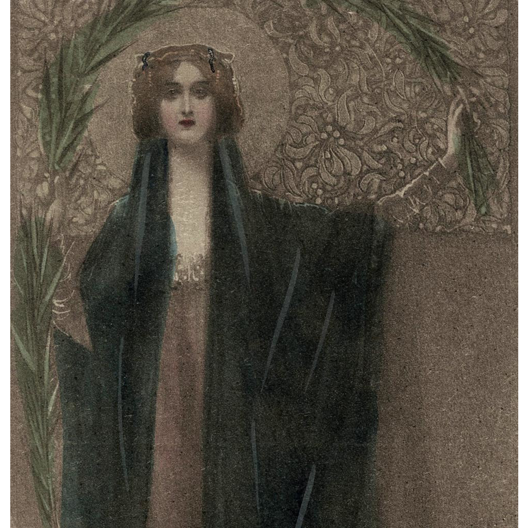 Antique French German Religious Postcard Hand Tinted of Madonna with Palm Frond