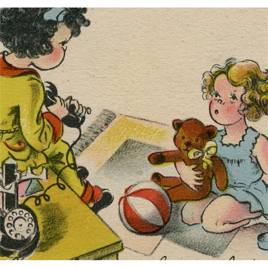 Girl with Teddy Bear Receives Phone Call Humorous Artist Signed French Postcard 1941
