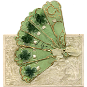 French Novelty Mechanical Postcard with 3-D Green and Gold Decorated Hand Fan