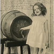 Real Photo Postcard of German Girl with Stein and Beer Barrel from 1903