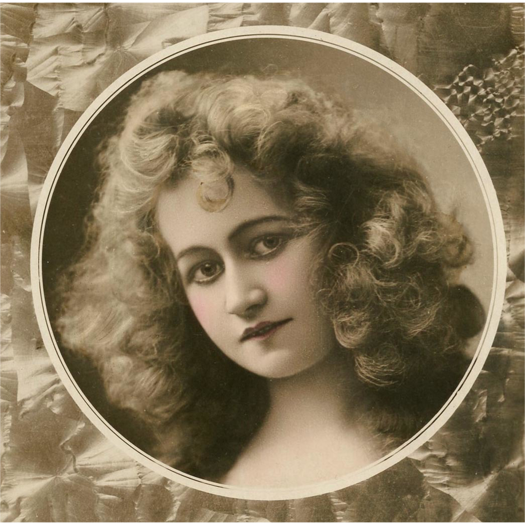 Curly-Haired Belle Epoque Beauty Real Photo French Postcard from 1905