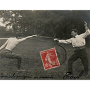 1908 Real Photo French Postcard of Two Men Sport Fencing
