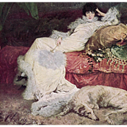 Unused Postcard Painting of Sarah Bernhardt with Borzoi by Georges Clairin