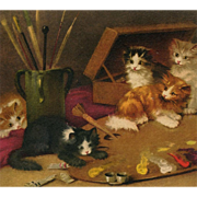 Artist Signed Swiss Postcard of Kittens Playing Around Artist's Palette by Decauville