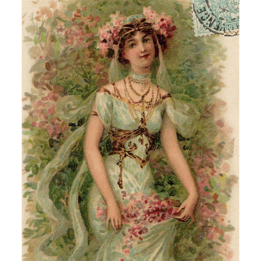 Art Nouveau French Postcard of Bejeweled Beauty Gathering Flowers Postmarked 1905