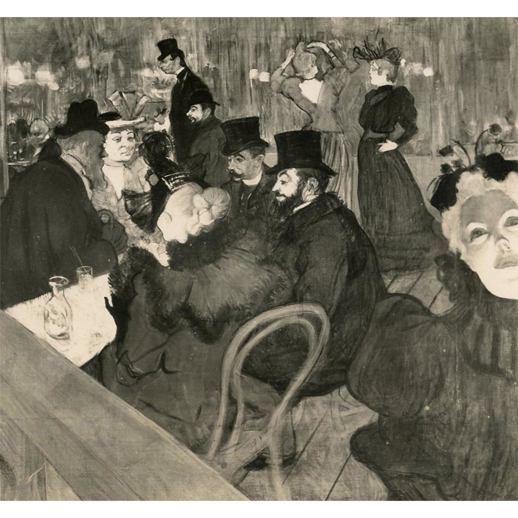 "Vintage Glossy Real Photo Postcard of ""At the Moulin Rouge"" by Toulouse-Lautrec"
