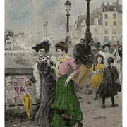 Artist Signed Unused French Postcard Edwardian Ladies Paris Street Scene by Basile Lemeunier