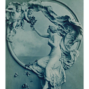 Art Nouveau Bas Relief Sculpto-Chrome by Italian Mastroianni in Blue