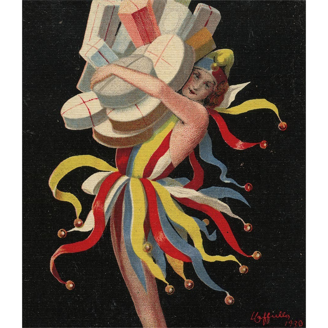 Jacquin Bonbons Advertising Postcard Version of Cappiello Poster of Jester with Gifts