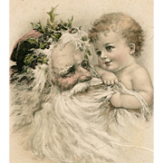 Antique German Christmas Postcard Santa and Baby Illustration Franked 1903