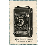 French Mechanical Novelty Postcard of Camera with Movable Lens