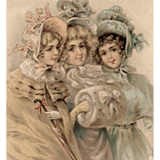 Antique French Postcard of Victorian Trio of Girls with Art Nouveau Ribbon Border