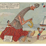 Eiffel Tower Anthropomorphized as Protective Knitting Caretaker on Beach Vintage French Postcard Artist Signed
