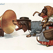 Barking at Gramophone Artist Signed German Postcard of Anthropomorphized Dachshunds Unused