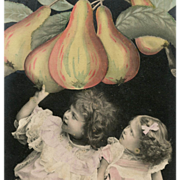 Hand-painted French Montage Postcard Pair of Girls with Pears