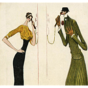 1911 French Illustrated Postcard of Super Tall Couple Talking on Telephone