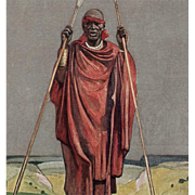 1931 Paris Colonial Exhibition Red Cross Artist Signed Postcard of Congo Chief