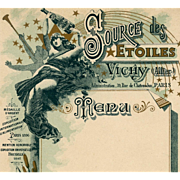Art Nouveau French Menu Advertisement for Vichy Mineral Water Nude Woman and Stars