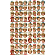 Sheet of Uncut Victorian Die-Cuts of Children's Faces Ephemera from France