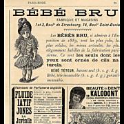 1890 Paris Mode Page Bébé Bru Doll Advertisements Clocks Clowns