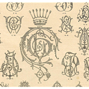 Original 1890 Paris Mode Page of Letters and Crowns: Monograms for Lingerie