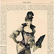 Antique Fashion Page from 1891 Paris Mode Magazine: Lady in Pansy Gown