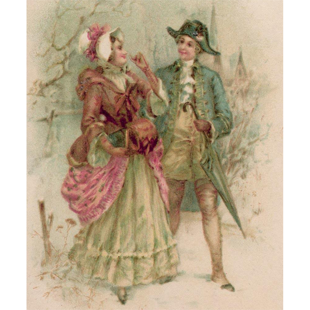 Antique European Postcard Illustration of Romantic 18th Century Couple