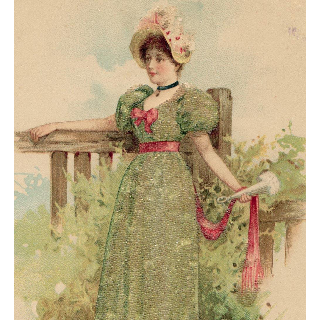 Unused Glass-Beaded French Postcard Edwardian Lady at the Fence