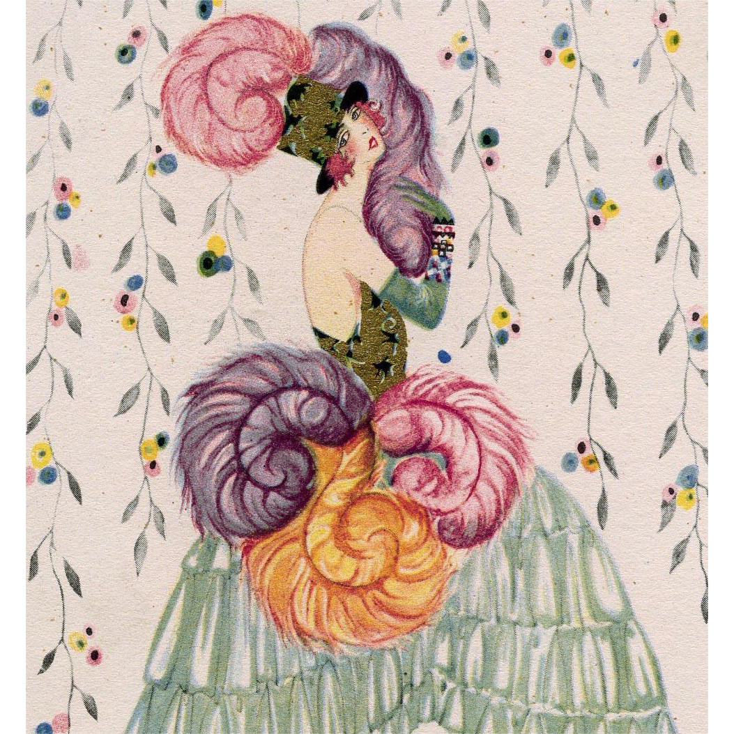 Rare Unused Art Deco High Fashion Artist Signed Postcard with Gold Overlay