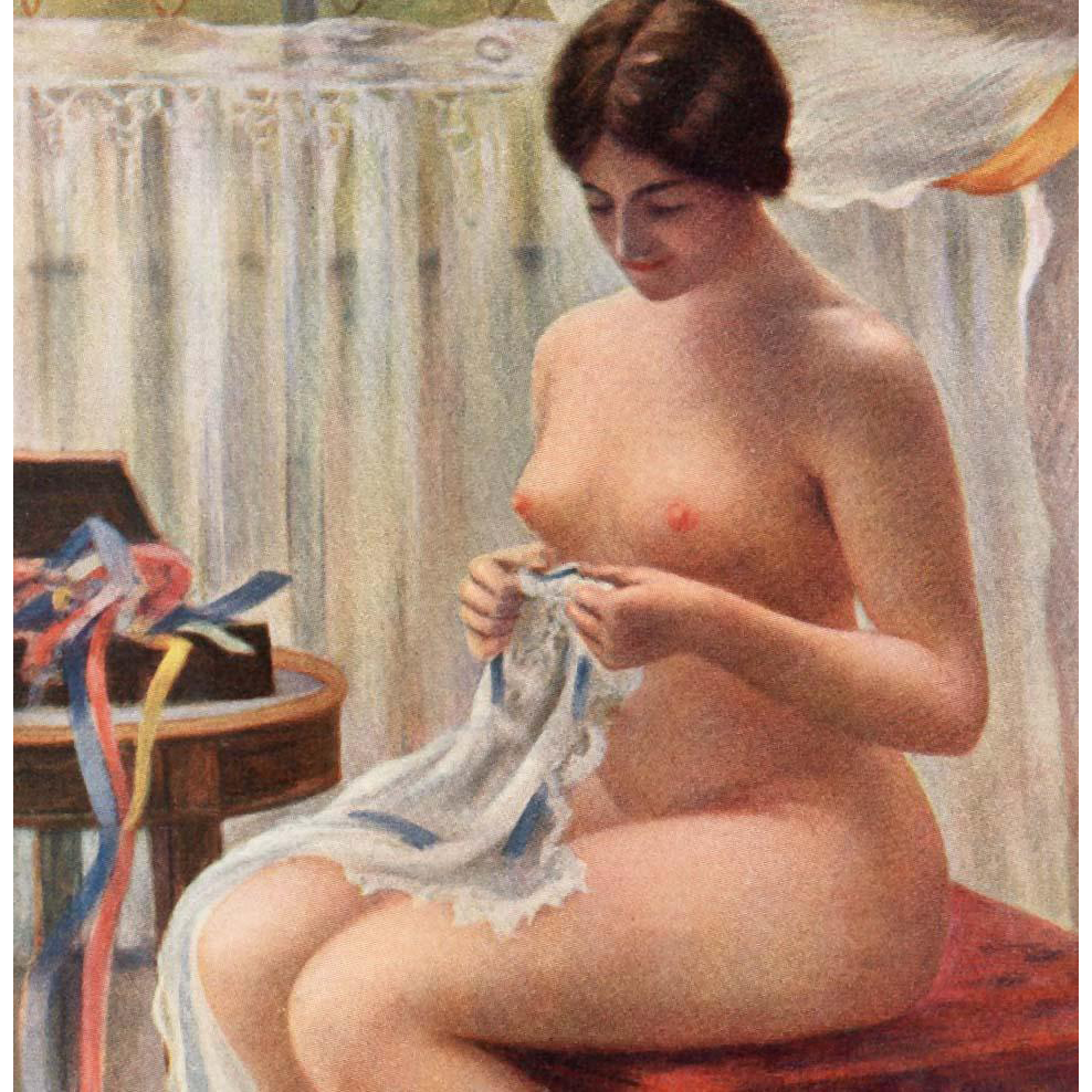 Nude with Ribbons Paris Salon 1913 French Artist Everart Unused Art Postcard