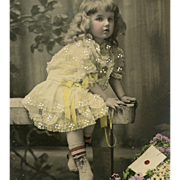 Antique French Postcard Portrait of Blonde Haired Girl in Yellow Dress Hand Detailed