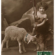 Shepherd Boy with Lamb French real Photo Easter Postcard - Red Tag Sale Item