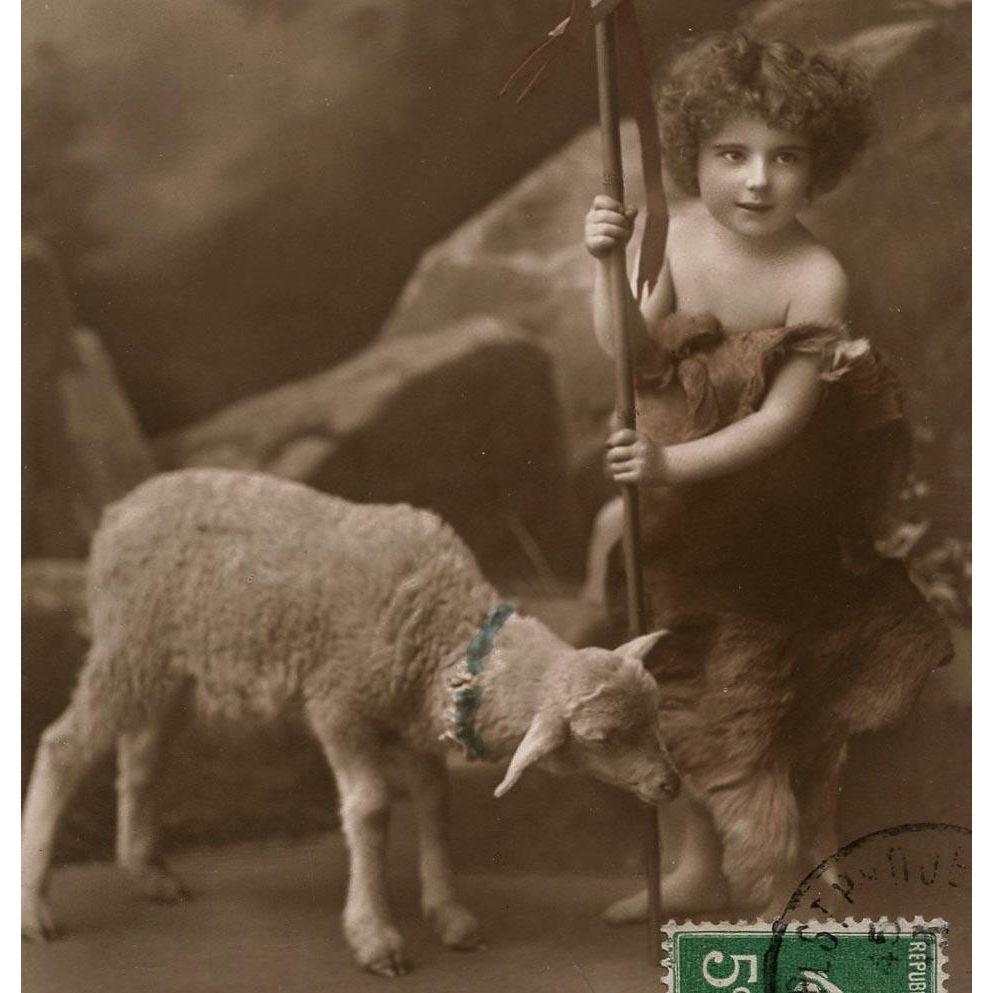 Shepherd Boy with Lamb French real Photo Easter Postcard
