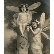 Two Dragonfly Fairies European Real Photo Fantasy Postcard