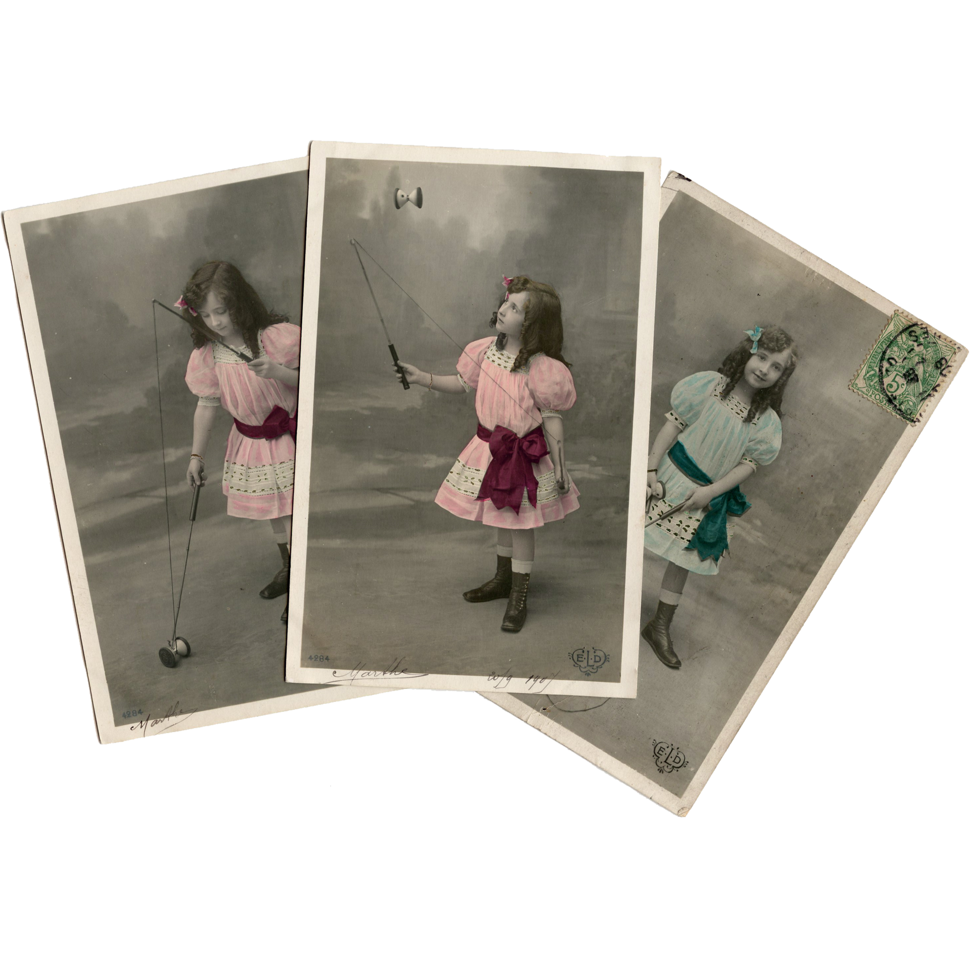 Edwardian Girl in Pink Playing with Diabolo French Series Antique Postcards (2)