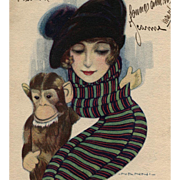 Woman in Beret Holding Monkey 1918 Artist-Signed Nanni Postcard