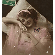 Butterfly Dreams Edwardian Lady in Pink Sepia Hand-Painted French Postcard