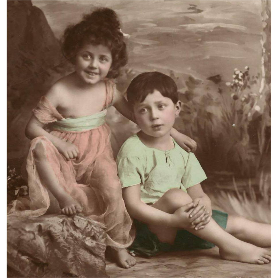 Real Photo European Postcard of Girl and Boy in Woodland Setting Sepia Hand-Colored