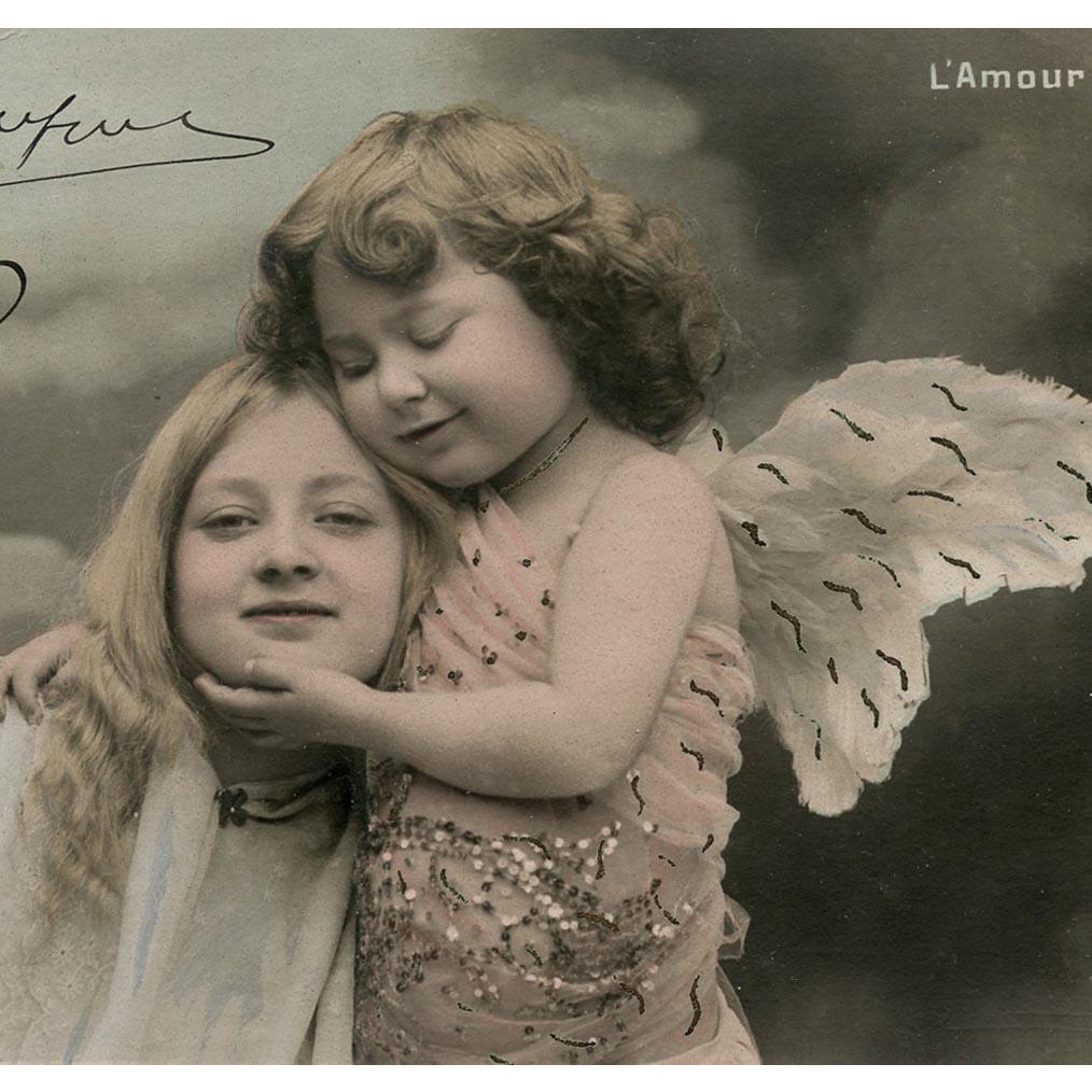 Love Hug Angel Fantasy French Postcard from 1912