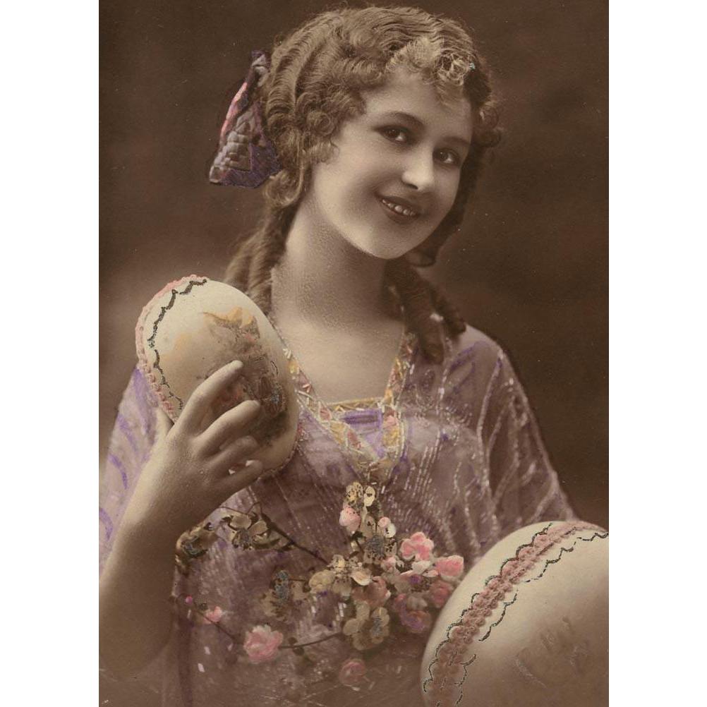Edwardian Easter Girl in Lavender with Huge Eggs French Postcard