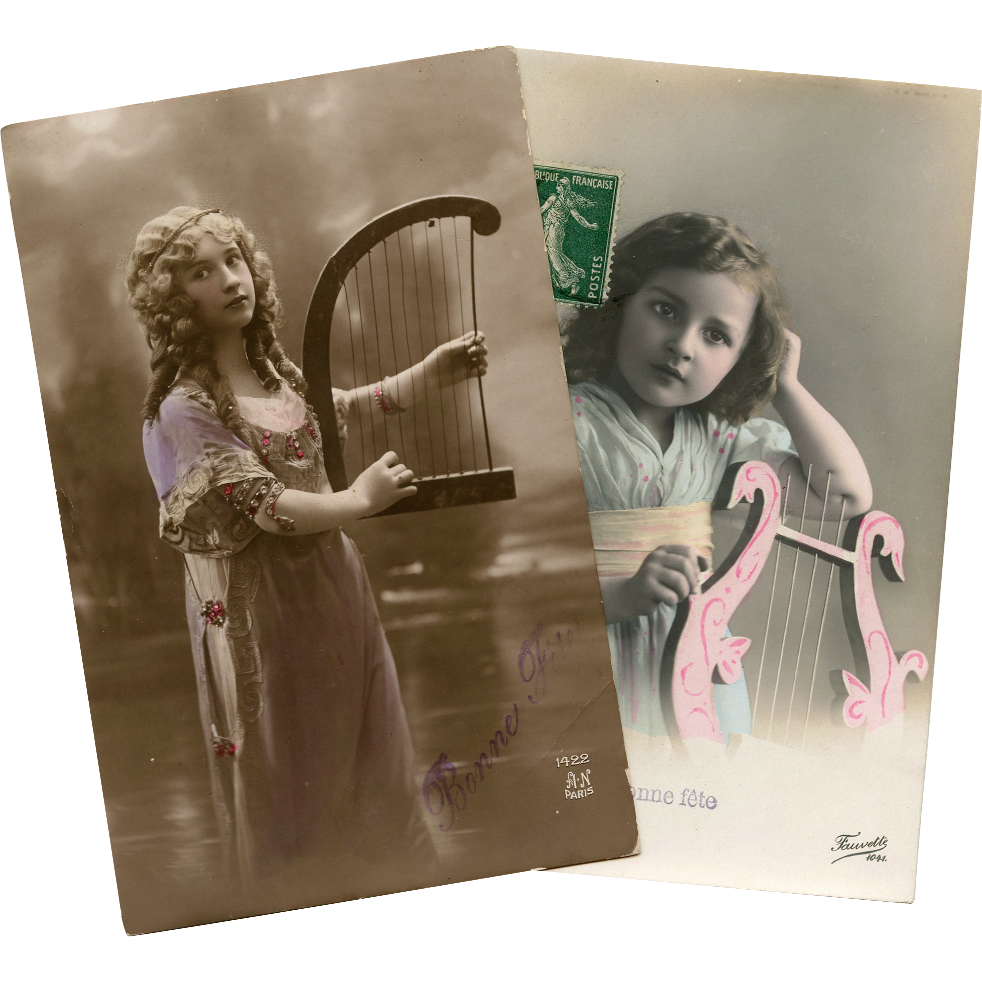 Harp and Lyre Music Theme 2 French Edwardian Real Photo Postcards