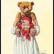 Girl with Huge Teddy Bear on her Shoulders Artist Signed Antique European Postcard